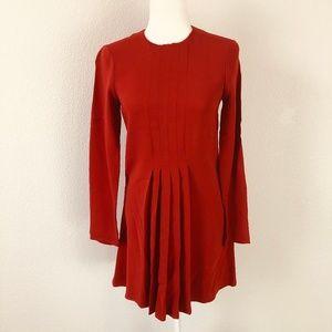Zara Woman Red Pleated Dress Women's Size XS